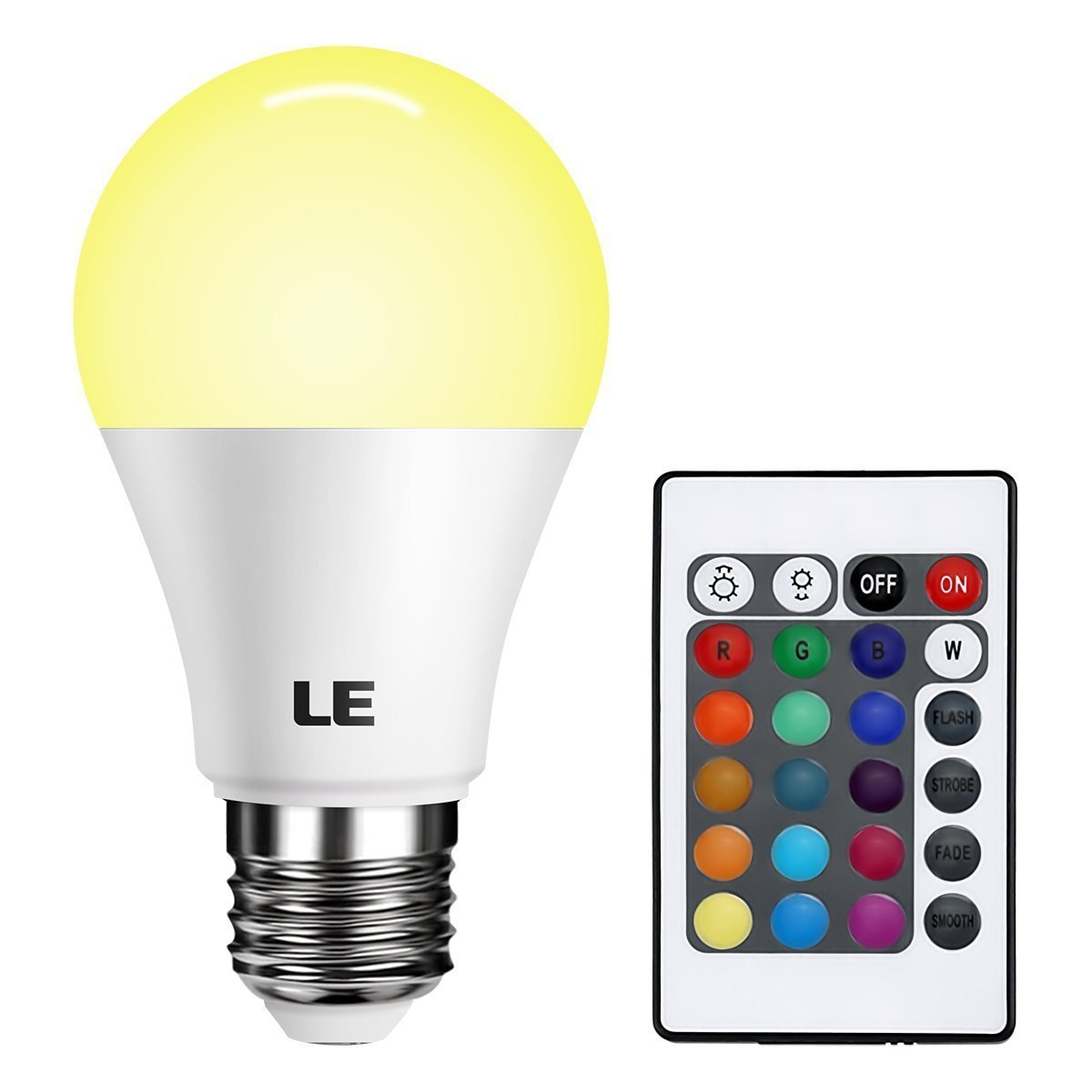 LE Dimmable A19 E26 LED Light Bulb 6W RGB 16 Colors Remote ...