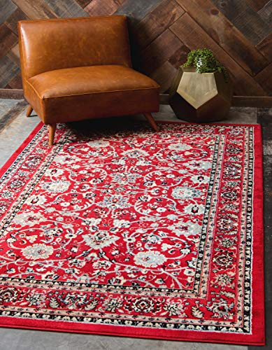 Unique Loom Kashan Collection Traditional Floral Overall Pattern with Border Red Area Rug (8' 0 x 10' -
