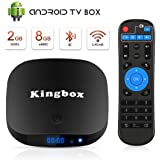 Kingbox Android TV Box, K1 Plus Android Box with 2GB RAM 8GB ROM, Quad-Core 4K Smart TV Box Built-in 2.4G WiFi Supports Ethernet/Bluetooth/4K HDR/Ultra HD 1080P/3D Movie/USB 2.0/H.265 Decoding