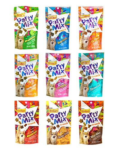 - Friskies Party Mix Crunch Variety Pack (9 Flavors) - Wild West, Morning Munch, Mixed Grill, Picnic, Beachside, Cheezy Craze, Original, California Dreamin', and Meow Luau