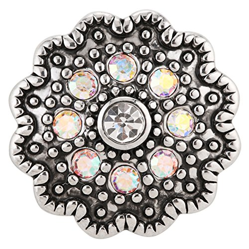 ® morella click-button bouton pression pour femme en argent et zircone en forme de fleur avec ornements nacrés