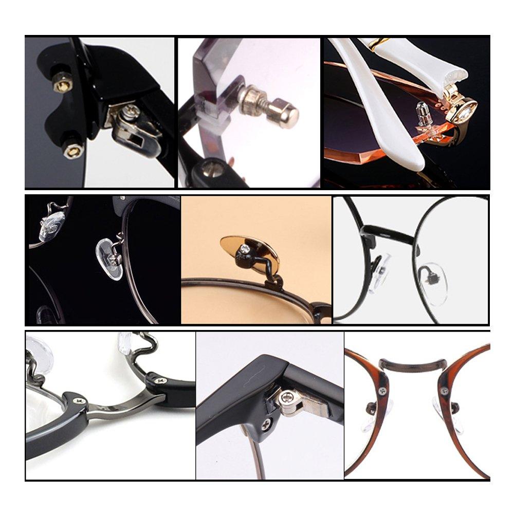 SHiZAK 700pcs Eyeglasses Sunglass Spectacles Tiny Screws Nut Kit & Silicone Nose Pads Assortment Repair Tool Set with Tweezer Micro Screwdriver