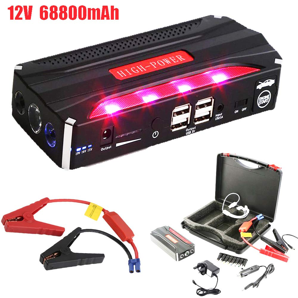 Burrby Car Jump Starter, Auto Battery Charger,12V Emergency Car Booster with USB Ports LED Flashlight, for Car Emergency (12V 68800mAh)