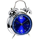 "EgoEra® 4 "" Metall Zwilling Glocke Analoge Wecker Bettseite Quarzwecker laut Extrem, Blau"