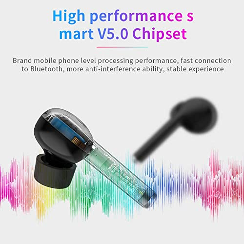 Ture Wireless Earbuds Bluetooth 5.0,IPX7 Waterproof Sport in-Ear Earphones Headset with Charging case,3D Stereo Sound,Touch Control,Noise Cancelling,Wireless Headphones for iPhone Android Black