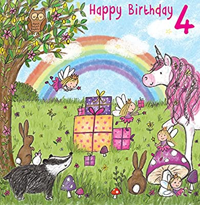Tarjeta de cumpleaños de 4 años para niña con unicornio ...