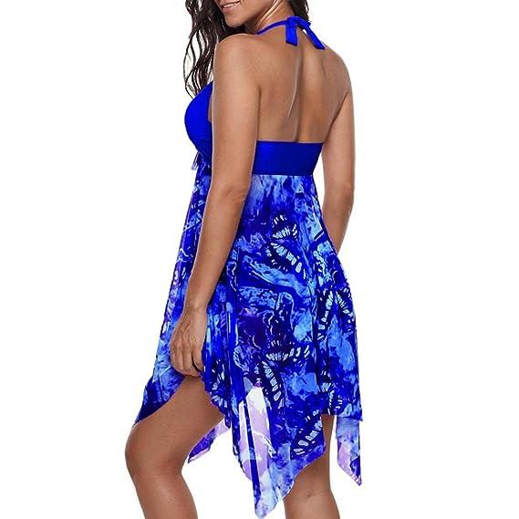 DEELIN Bikini Traje De BañO De ImpresióN De Moda De Gran TamañO Sexy Tankini AsiméTrico Dobladillo Sin Espalda Traje De BañO Y Ropa Interior De Playa ...