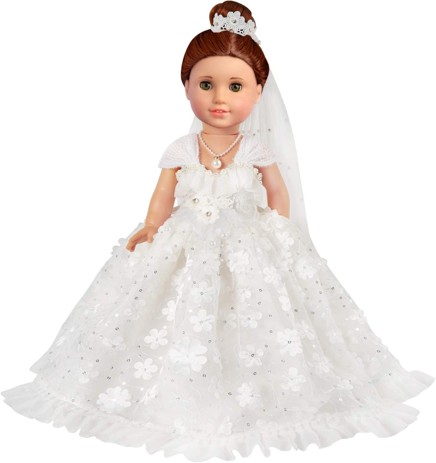 3 PCS KYToy 18 Inch Doll White Wedding Outfit for American Doll Clothes and Accessories Girl Bride Flower Pearl Wedding Dress Gown with Veil and Necklace Set