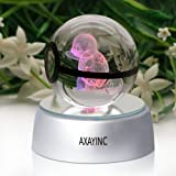 AXAYINC 3D Crystal Ball LED Night Lights Advance Laser Engraving Children's Gift (Squirtle)