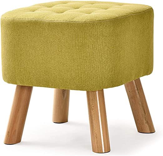 Yellow UUSSHOP Round Wooden Support Upholstered Footstool Ottoman Pouffe Padded Chair Stool with Removable Flannel Cover,4 Beech Legs