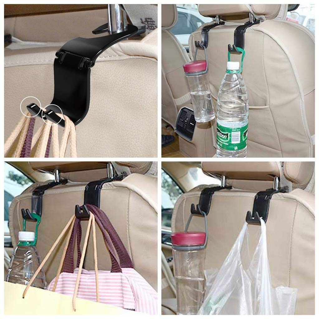 ZaCoo Car Back Seat Headrest Hanger Storage Hooks Universal Folding Hooks for Auto Car SUV Black -Set of 2