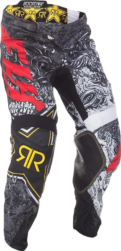 Fly Racing Motocross Mesh Hose Rockstar Schwarz Weiß Fahrerhose Bekleidung