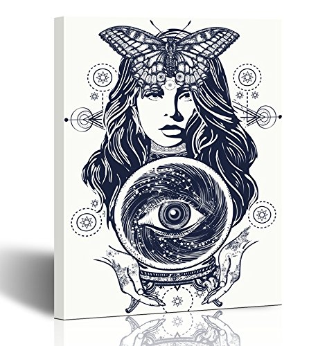 Emvency Painting Wall Art Canvas Print Square 12x16 Inches Magic Woman Tattoo Fortune Teller Crystal Ball Mystic and All Seeing Eye Decoration Wooden Frame