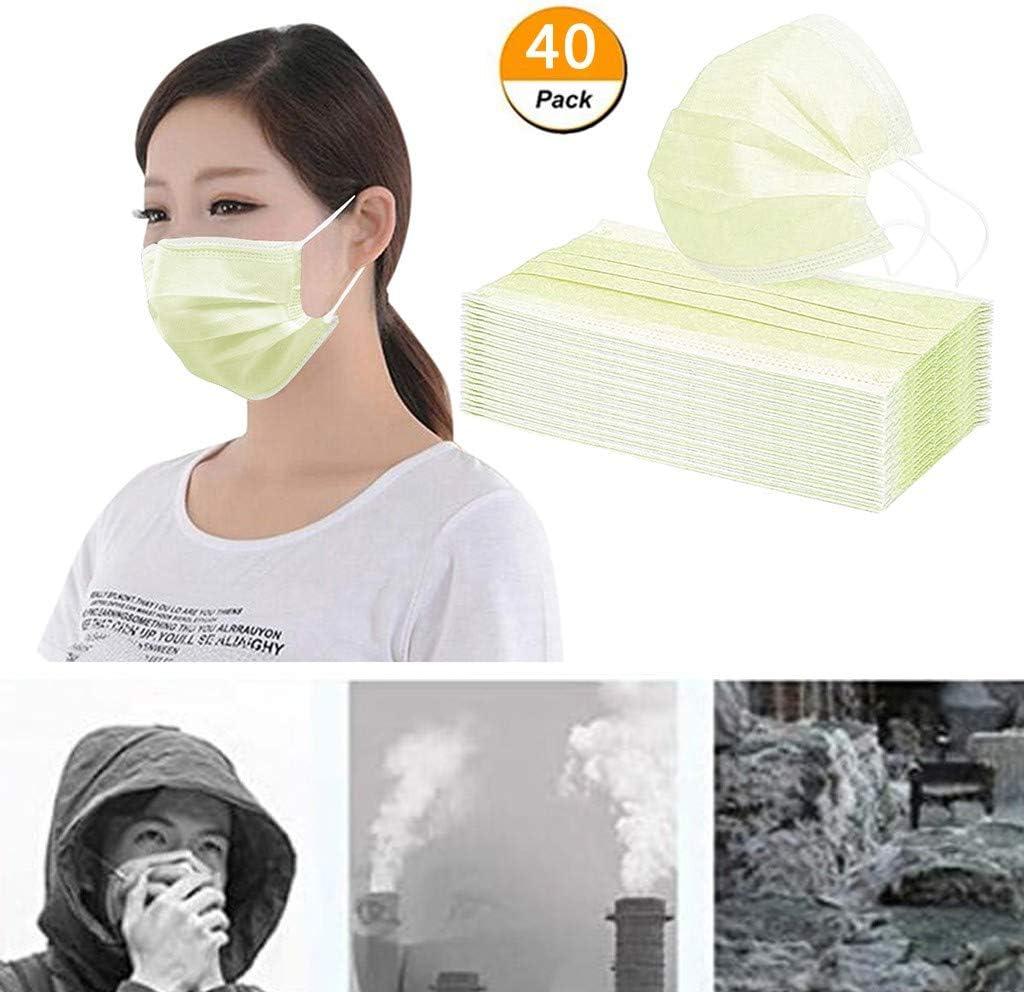Erwachsene Mund und Nasenschutz Bedeckung Einmal-Mundschutz Mundbedeckung 3-lagig Atmungsaktiv Multifunktionstuch Halstuch Staubs-chutz 60pc, Gelb