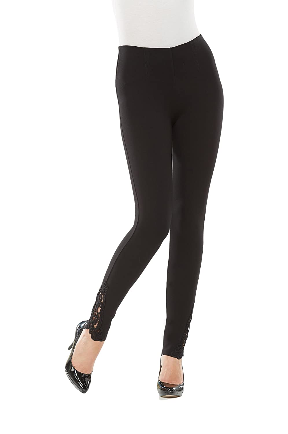 Plus Luxe Crochet Hem Leggings Black 2X