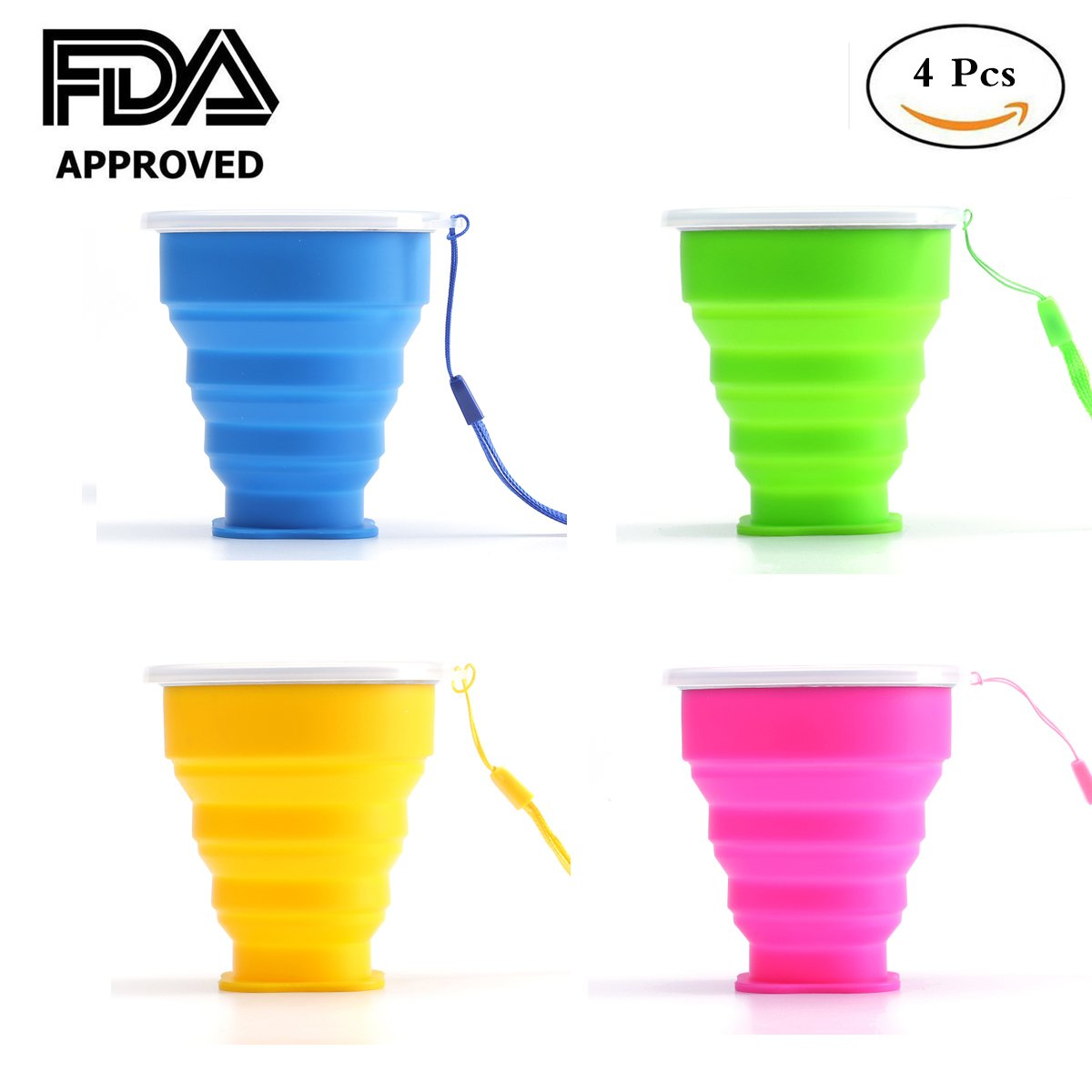 aoxiangシリコン折りたたみ可能なカップ – シリコン折りたたみトラベルキャンピングカップwith Lids – Expandable Drinking Cup – BPAフリーポータブル折りたたみ式4パック  NO3 B07DQJRTH6