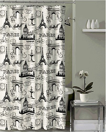 Black Embossed Fabric Shower Curtain product image