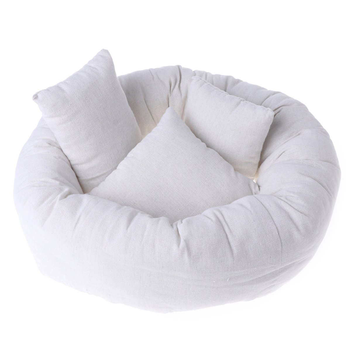 Newborn Baby Photography Posing Pillow Filler Photo Prop (1pc Donut + 3pcs Pillow, basket not included)