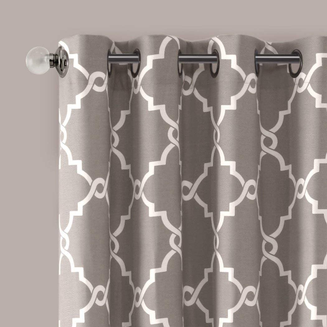 1Pieza 84 gris Color geométrico deslizante puerta cortina, ojal ...