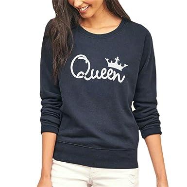 COCO clothing Basica Sudaderas Queen de Mujer Color Puro Redondo Sweatshirt Casual Camisetas de Manga Larga