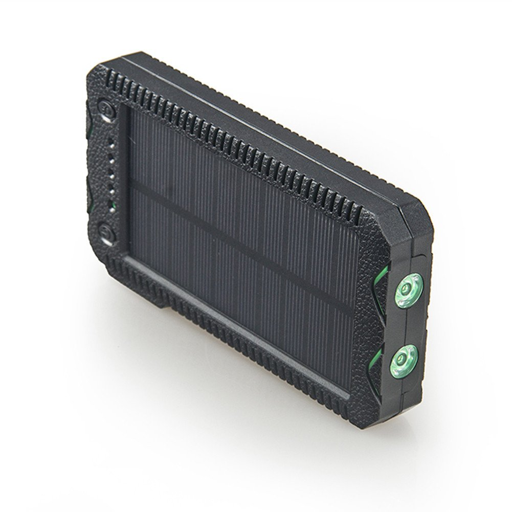 Zenos 15,600mAh Solar Waterproof Power Bank/Chargers with Cigarette Lighter & Dual LED Torchlight (Green)