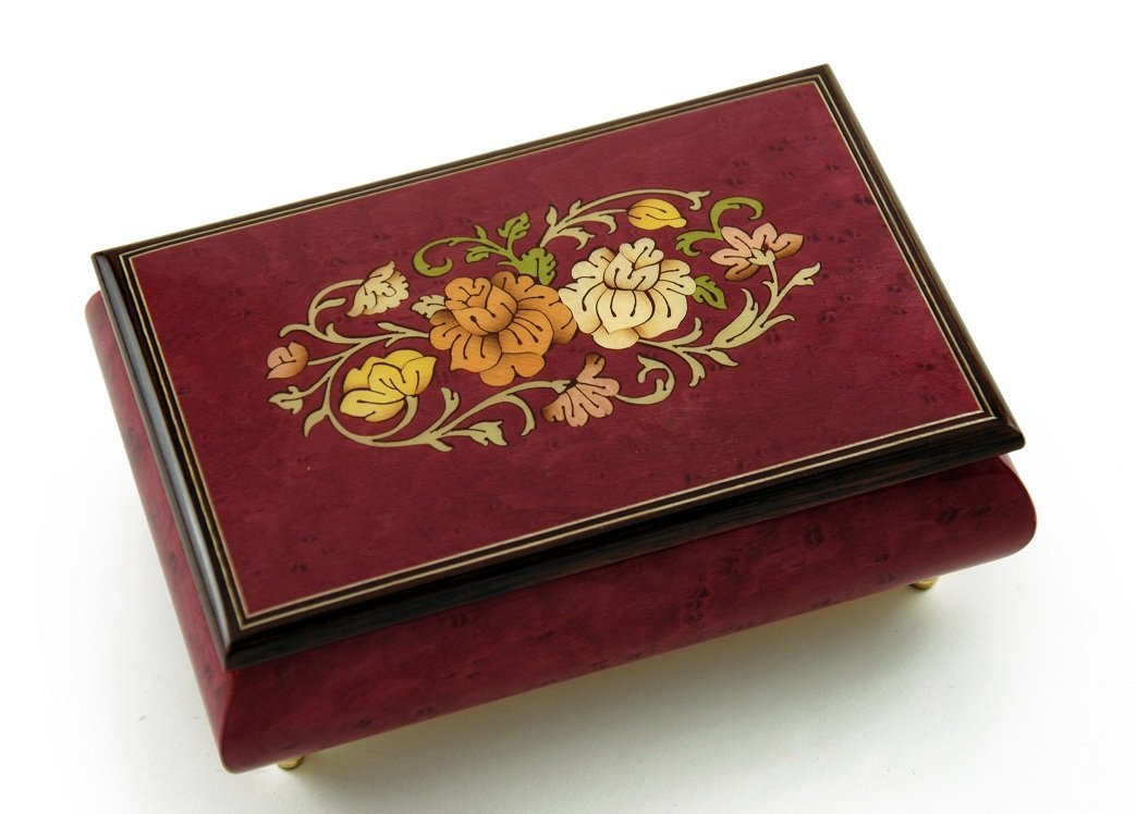 Remarkable 30 Note Red Wine Floral Theme Wood Inlay Musical Jewelry Box - Love is Blue