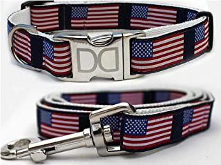 "product image for Diva-Dog 'Stars & Stripes' Custom Medium & Large Dog 1"" Wide American Flag Dog Collar with Plain or Engraved Buckle, Matching Leash Available - M/L, XL"