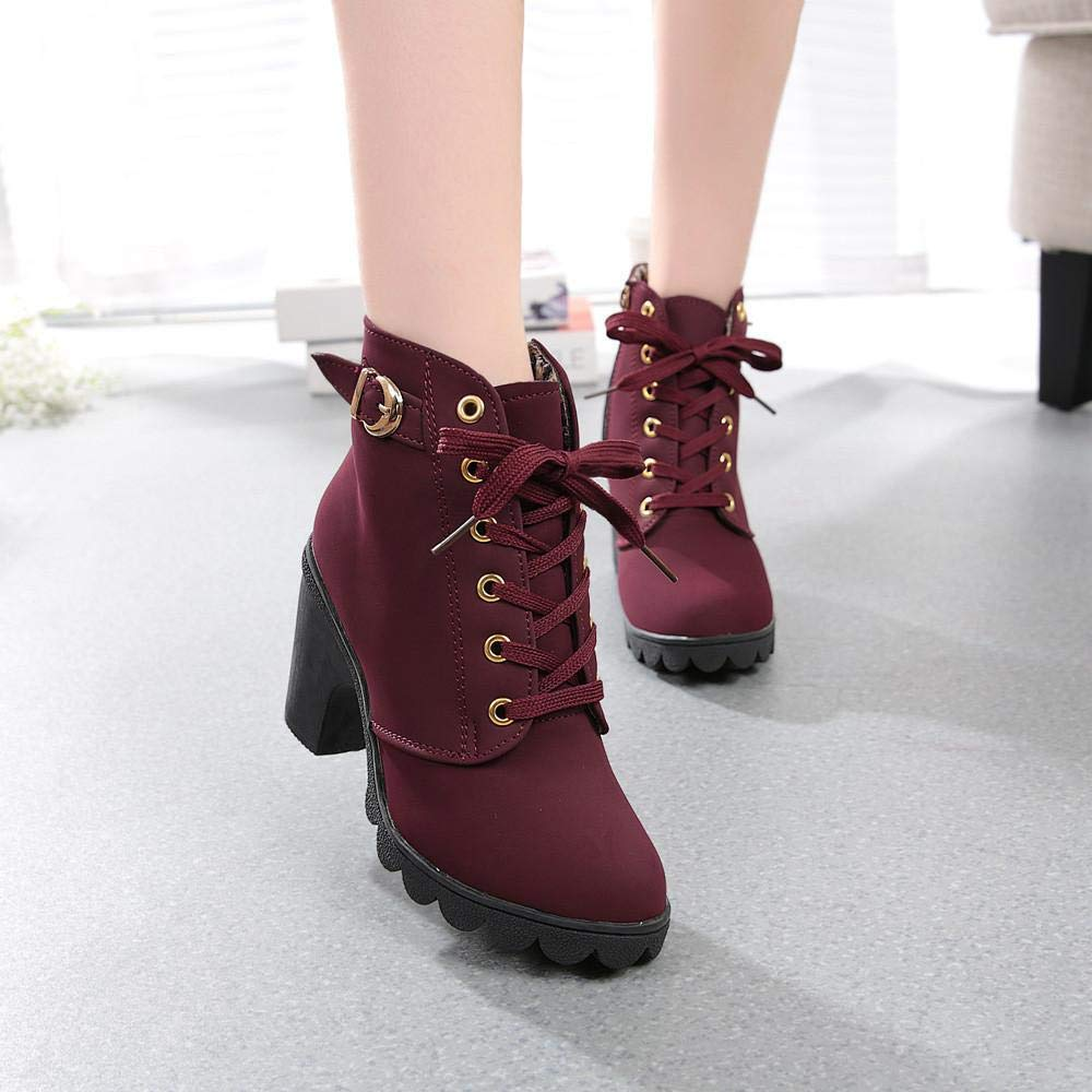 Gyoume Women Ankle Boots,Winter High Heel Boot Shoes Ladies Lace up Boots Shoes Dress Shoes