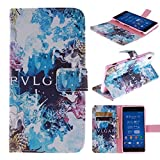 Sony Z3v Case Sony Xperia Z3v Flip Kickstand Case,Tribe-Tiger Stylish Beautiful Blue Starry Sky Design Premium Leather Magnet Slim Flip Kickstand Case Cover for Sony Xperia Z3v(Not Fit Sony Xperia Z3)