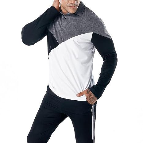 Camiseta Manga Larga Delgada Ocasional de los Hombres de la Moda Blusa Superior del músculo Poloshirt: Amazon.es: Ropa y accesorios