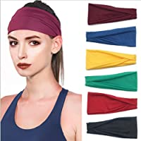 Women Headbands Turban Headwraps Hair Band Bows Accessories for Fashion Or Sport (Solid Color 6pcs)