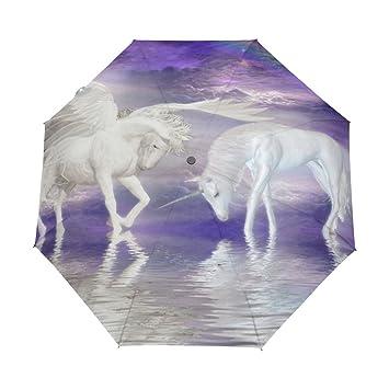 bennigiry unicornios caballo nube arcoíris 3 Folds Auto Abrir Cerrar paraguas compacto, resistente al viento