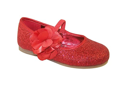 08a687da4af94 Girls' red Glitter Party Shoes with Satin Flower Trim Synthetic Ballet-Flats