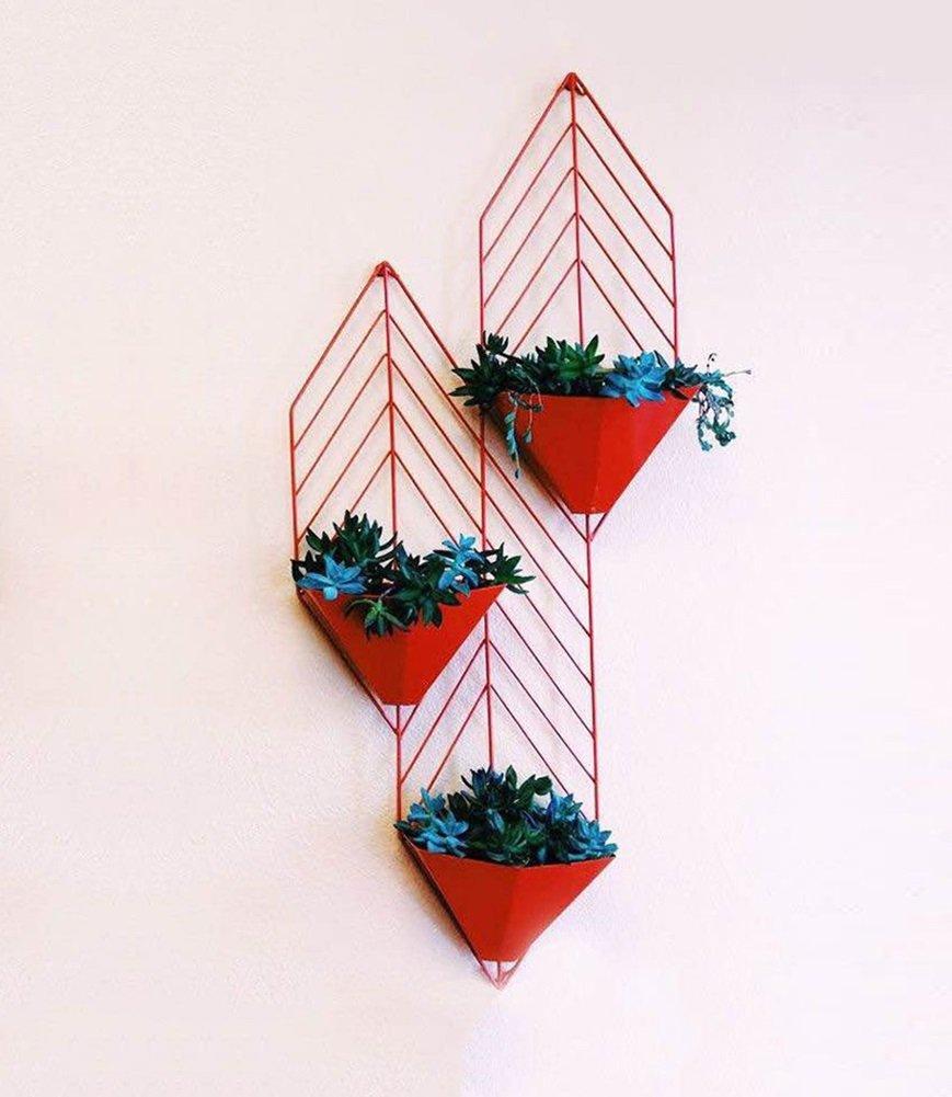 JCRNJSB® フラワースタンドバルコニーの手すり鉄アート壁掛け緑の大根ぶら下げ掛けバスケット壁掛け壁の植物スタンドウォール屋内寝室71センチメートル高い 折りたたみ式、フラワースタンド (色 : 赤) B07DFBRNKN 赤 赤