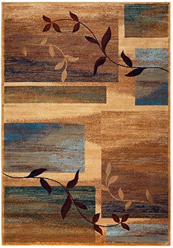 - Rizzy Home Bellevue Collection Polypropylene Tan/Khaki/Blue/Burgundy Abstract Area Rug 5'3