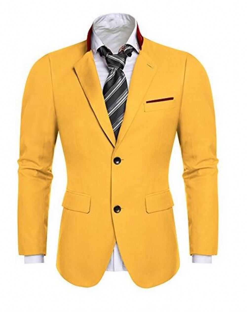 Love Dress Men's Casual Dress Suit Slim Fit Stylish Blazer Coats Jackets Yellow 4XL
