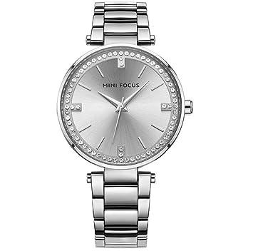 Mini Focus moda cuarzo relojes mujeres Rhinestone plateado oro rosa reloj de pulsera para mujer hembra reloj mf0031, 03 Blanco Diamante Blanco Tira: ...