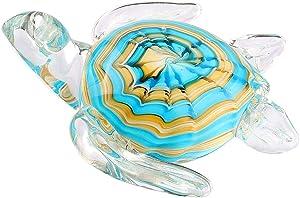 Hophen Art Glass Crystal Sea Turtle Figurine Blown Paperweight Sculpture Mother`s Day Gift Home Decor (Big Blue)