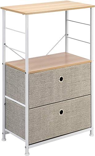 LeafRed C Nightstand 2-Drawer Shelf Storage