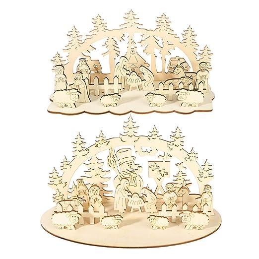 WE-HYTRE Navidad Decoración de Mesa de Madera Adorno de Escritorio ...
