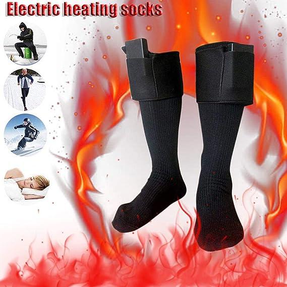 Per 3V Calcetines Calefactables Dobles Capas para Homres y Mujeres con Bater/ías Calcetines T/érmicos Invierno para Acampada Esqu/í