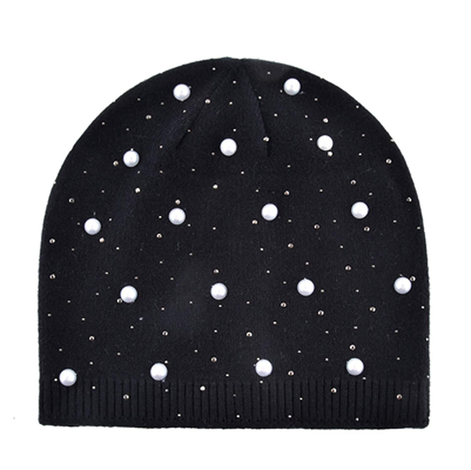 ANDERDM Winter Knitted Beanie Women Fashion Rhinestone Pearls Knitting Hats Ladies Female Solid Color Casual Bonnet