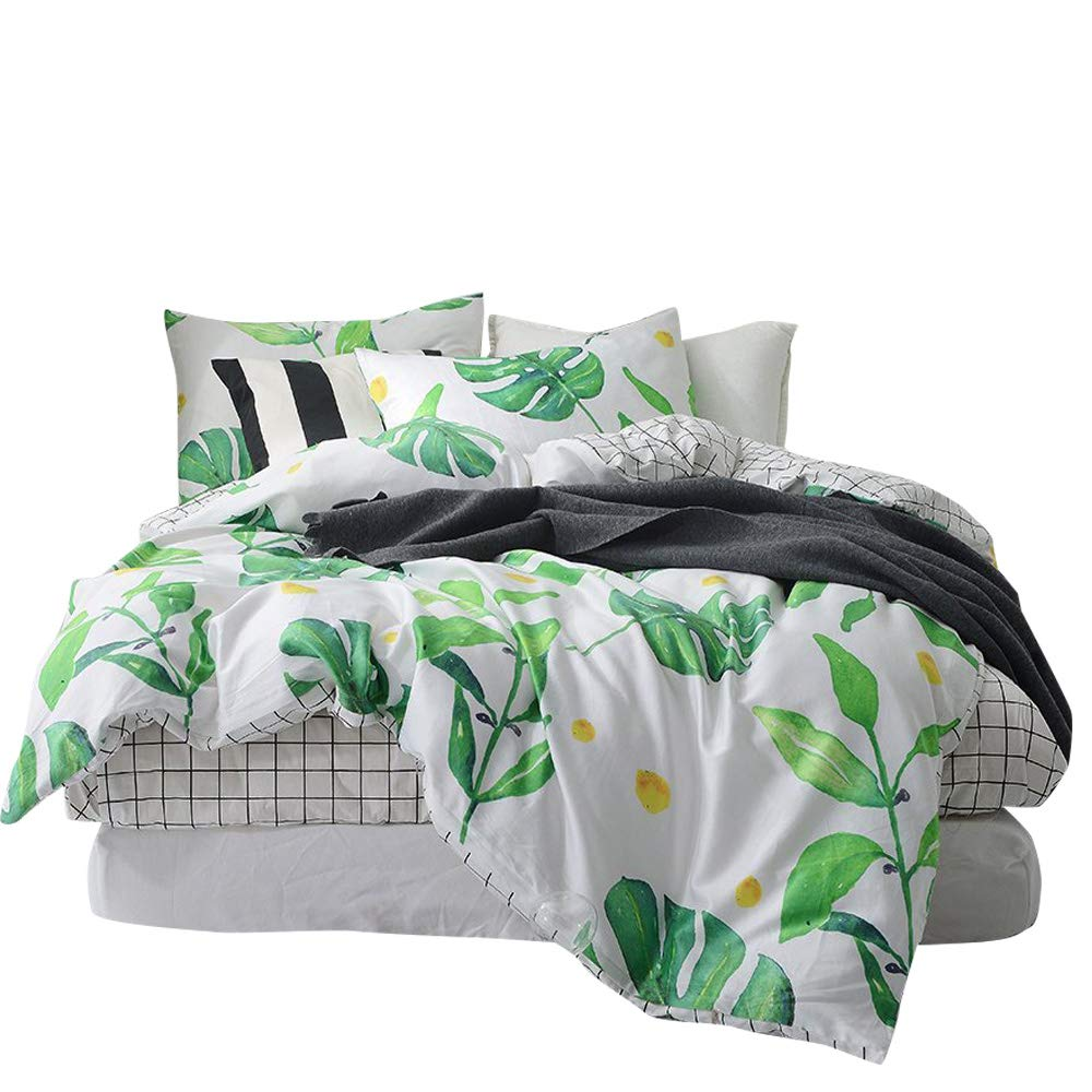BuLuTu Palm Tree Leaves Print Cotton Twin Kids Bedding Cover Sets Boys Girls Reversible Nature Lattice Duvet Cover Sets White Twin Comforter Cover Zipper Closure Ties,No Comforter