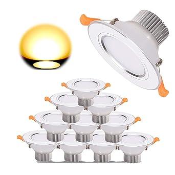LED Einbaustrahler Set, 10 x Gr4tec Bad Einbauspots LED Deckenspots 7W  700lm 2700K Warmweiss 80Ra Rund Badleuchte für Badezimmer Deckenstrahler ...