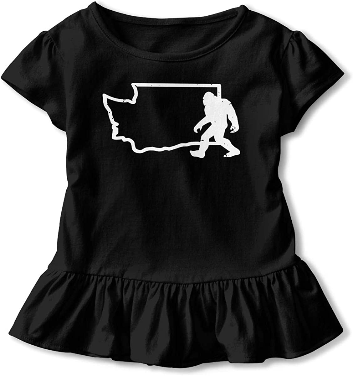 Not Available Washington State Bigfoot Sasquatch Shirt Baby Girls Ruffles Print Summer Clothes for 2-6 Years Old Baby