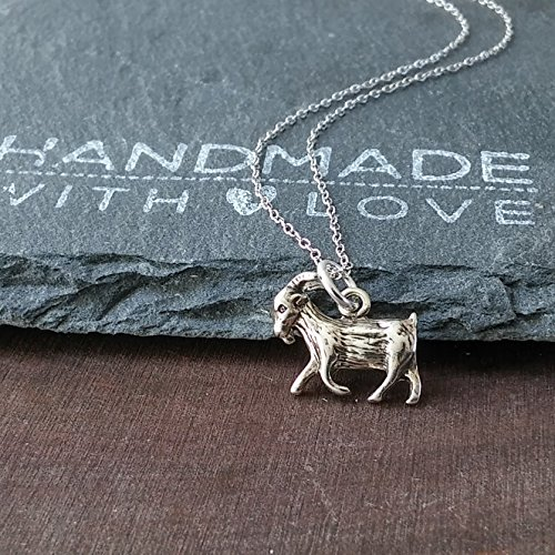 - Sterling Silver Small Goat Charm Pendant Necklace, 20
