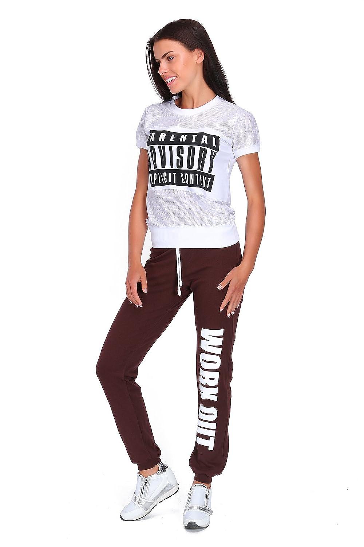 FUTURO FASHION Pantalon de Gymnastique en Polaire pour Femmes Pleine Longeur imprinte Work Out Tailles 36-48 DW