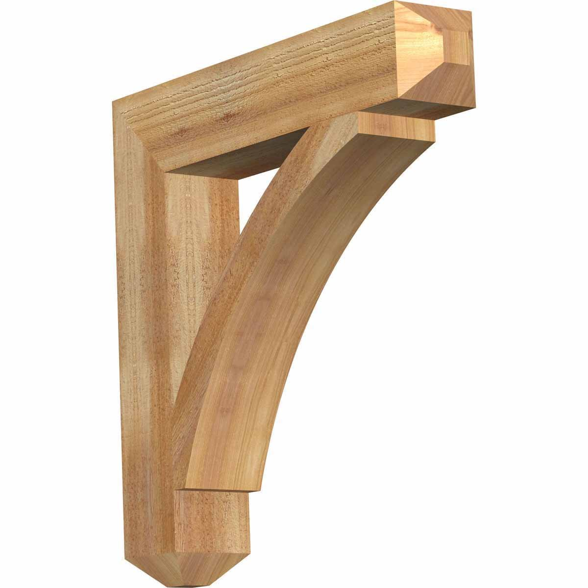 Ekena Millwork BKT04X22X22THR04RWR Thorton Craftsman Rough Sawn Bracket, 4'' Width x 22'' Depth x 22'' Height, Western Red Cedar