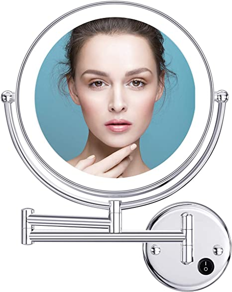 Amazon Com Benbilry 9 Inch Led Wall Mounted Mirror 1x 5x Magnification Double Sided 360 Extendable Lighted Wall Mount Makeup Mirror With Ac Adaptor For Bathroom Hotels Home 9 5x Wall Mount Mirror Kitchen