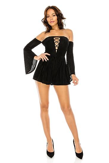 d9b647ff0ed0 Amazon.com  Women s Sexy Long Bell Sleeve Off Shoulder Strapless Velvet  Romper Dress  Clothing